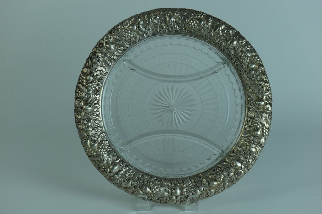 AMERICAN STERLING SILVER AND CUT GLASS SERVING DISH
