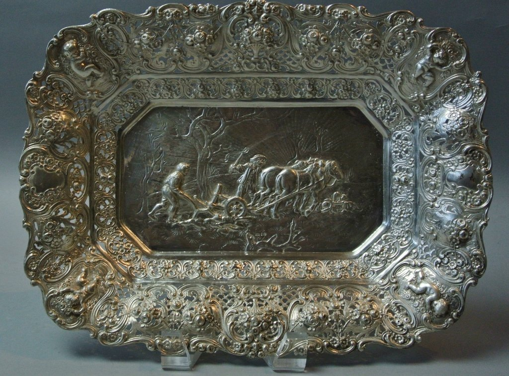 GERMAN RETICULATED SILVER DISH