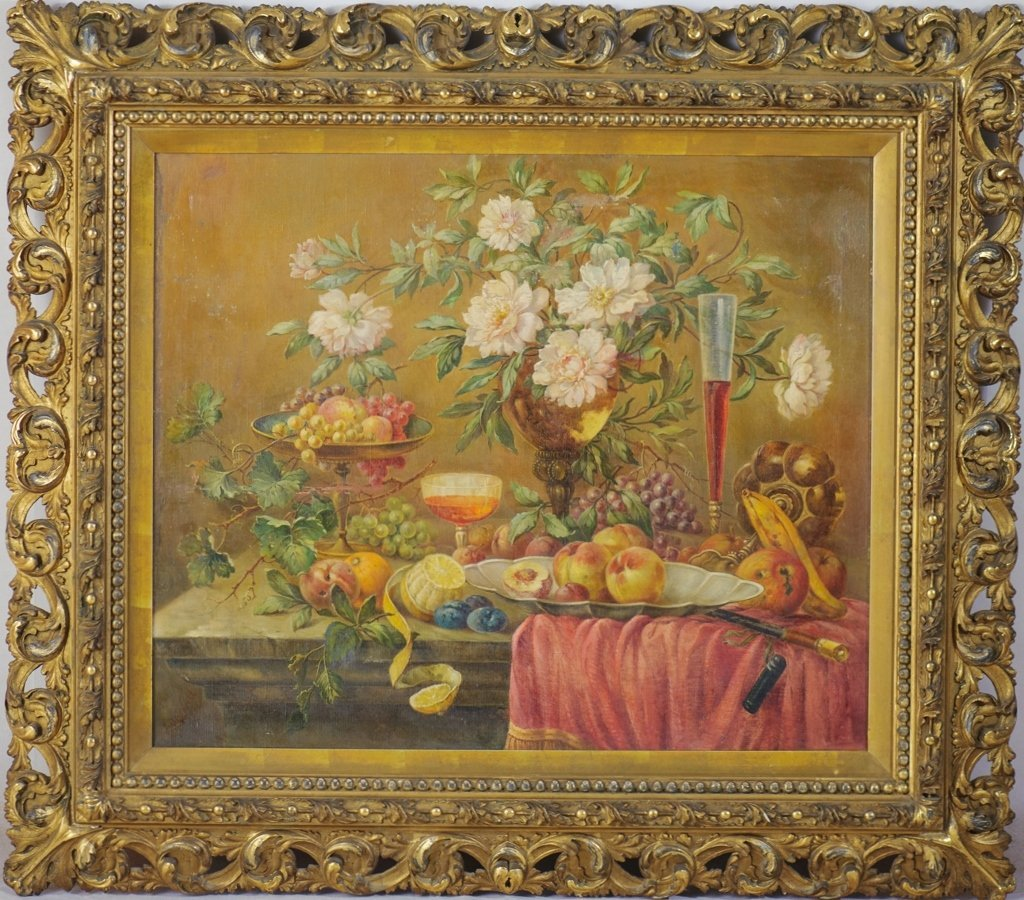19TH LARGE STILL LIFE OIL PAINTING ON CANVAS