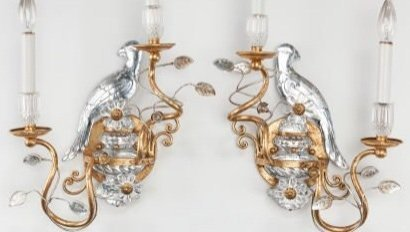 A PAIR OF ROCK CRYSTAL AND DORE BRONZE SCONSES