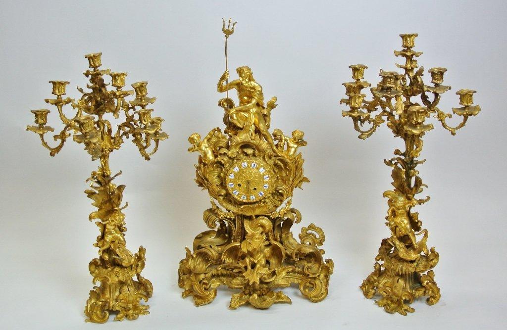 MAGNIFICENT LARGE 19TH CENTURY ORMOLU CLOCK SET