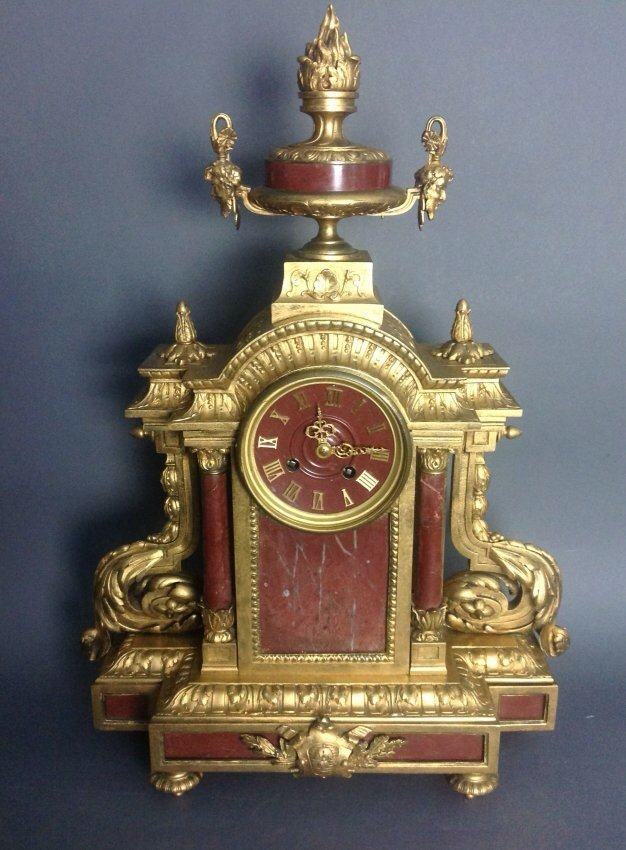 ROUGE MARBLE AND ORMOLU CLOCK