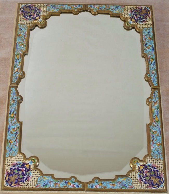 19TH CENTURY LARGE CHAMPLEVE ENAMEL MIRROR