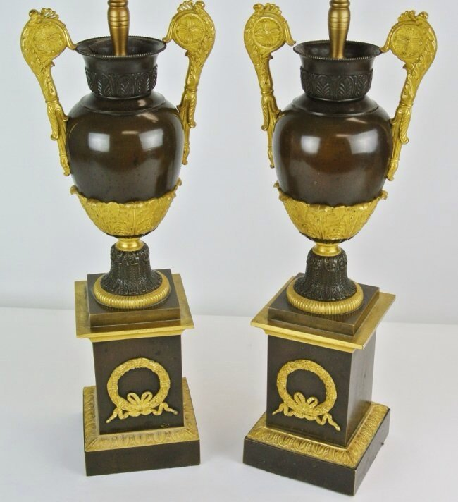 PAIR OF 19TH CENTURY EMPIRE STYLE BRONZE LAMPS