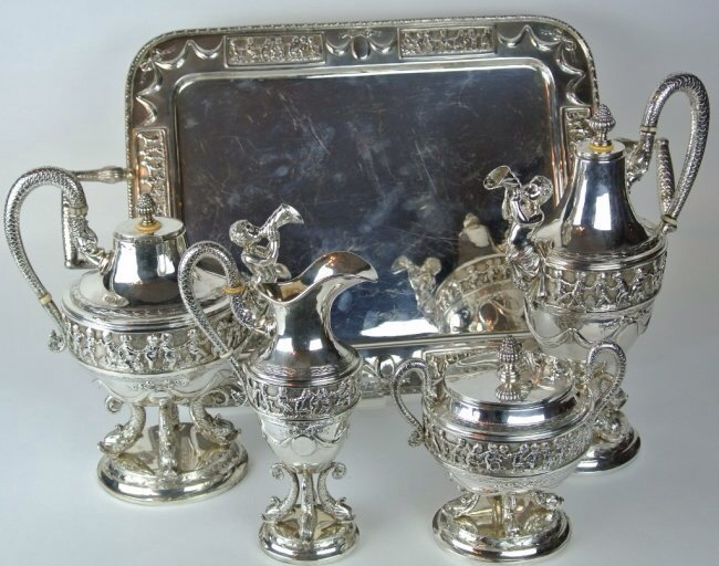 A MAGNIFICENT CONTINENTAL SILVER TEA SET