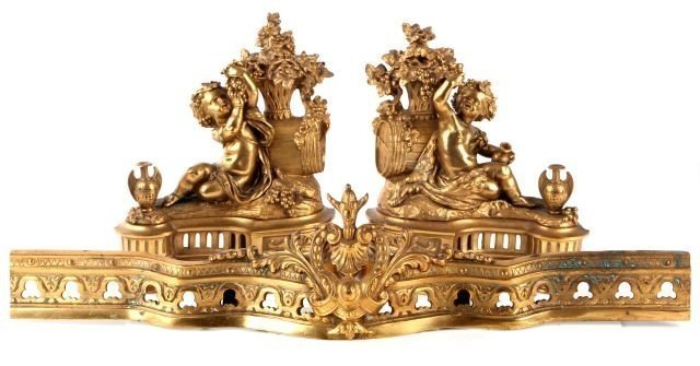 A PAIR OF 19TH CENTURY ORMOLU CHENETS AND FENDERS