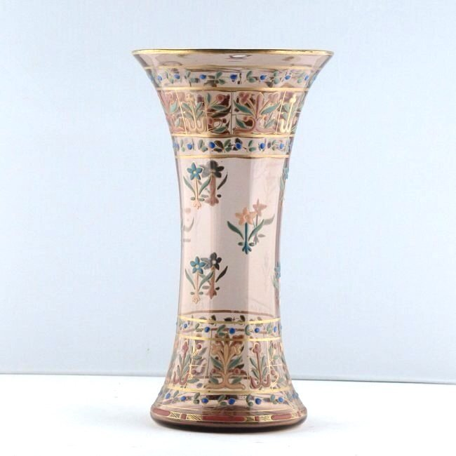 19TH CENTURY ENAMELED MOSER GLASS VASE