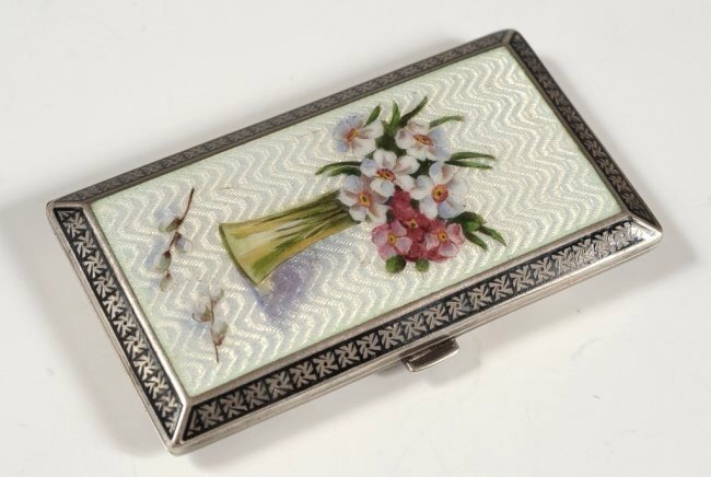 FRENCH GUILLOCHE ENAMEL ON STERLING CARD CASE