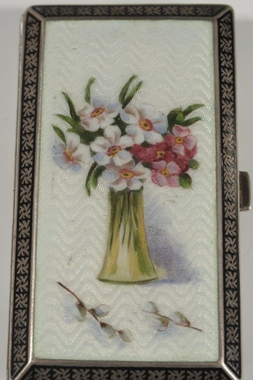 FRENCH GUILLOCHE ENAMEL ON STERLING CARD CASE - 2