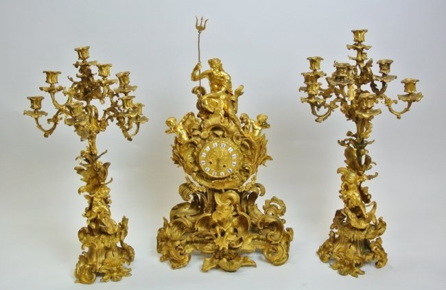 MAGNIFICENT LARGE 19TH CENTURY ORMOLU CLOCK SET RAINGO
