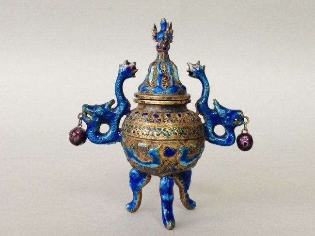 CHINESE SILVER AND ENAMEL