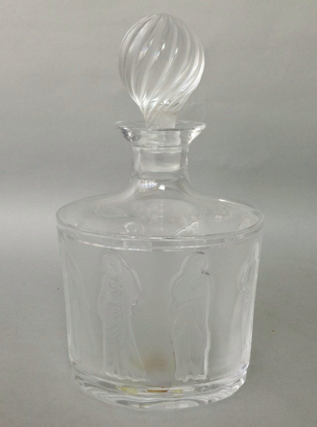 LALIQUE LIQUOR BOTTLE AND STOPPER