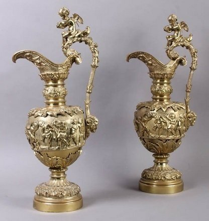 PAIR OF 19TH CENTURY DORE BRONZE EWERS