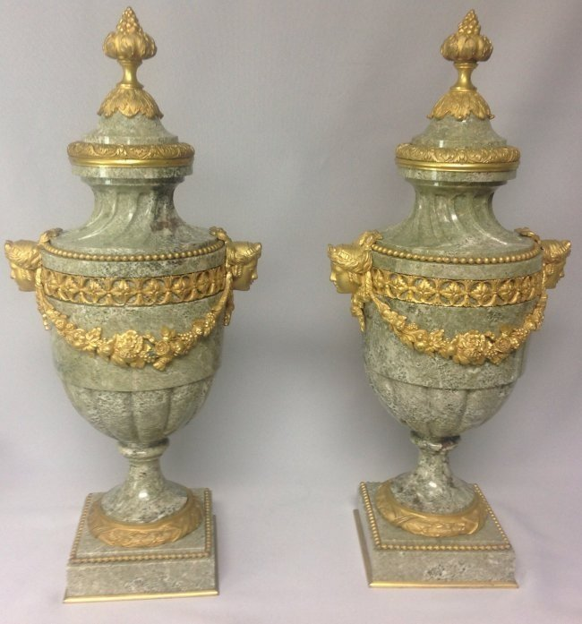 PAIR OF DORE BRONZE & MARBLE URNS AND TOPS