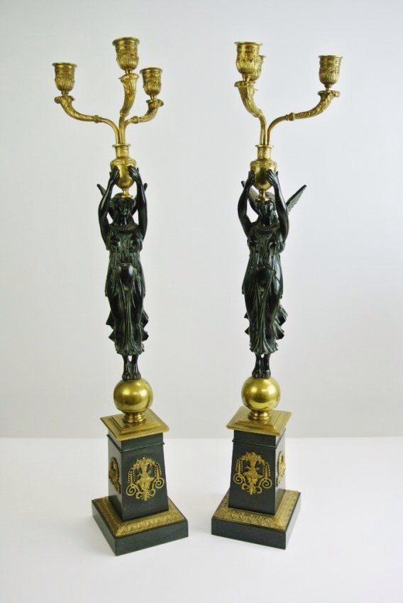 EMPIRE STYLE PATINATED AND DORE BRONZE CANDELABRAS