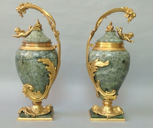 PAIR OF DORE BRONZE AND MARBLE URNS