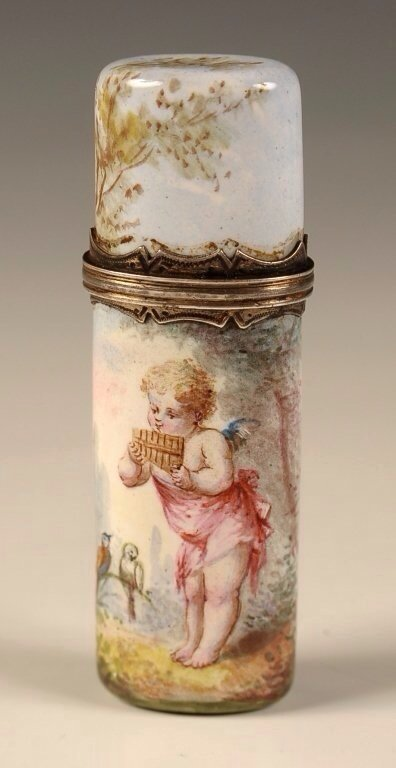 19TH CENTURY VIENNESE ENAMEL AND SILVER SCENT BOTTLE