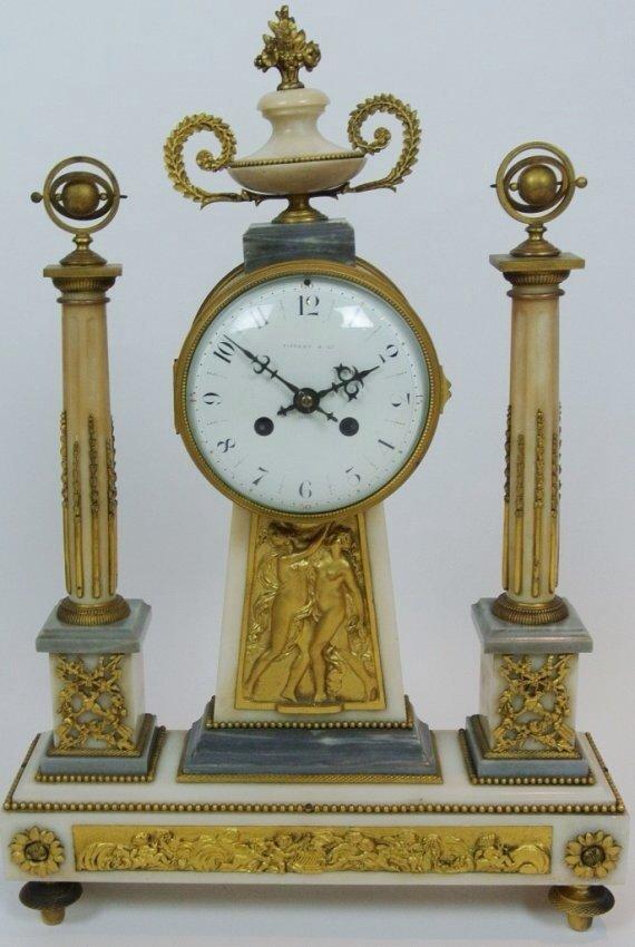 A TIFFANY ORMOLU AND MARBLE CLOCK GARNITURE - 2
