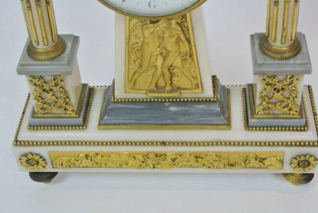 A TIFFANY ORMOLU AND MARBLE CLOCK GARNITURE - 3