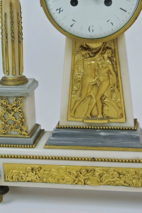 A TIFFANY ORMOLU AND MARBLE CLOCK GARNITURE - 5