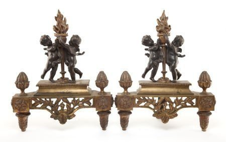 A PAIR OF DORE AND PATINATED BRONZE CHENNES