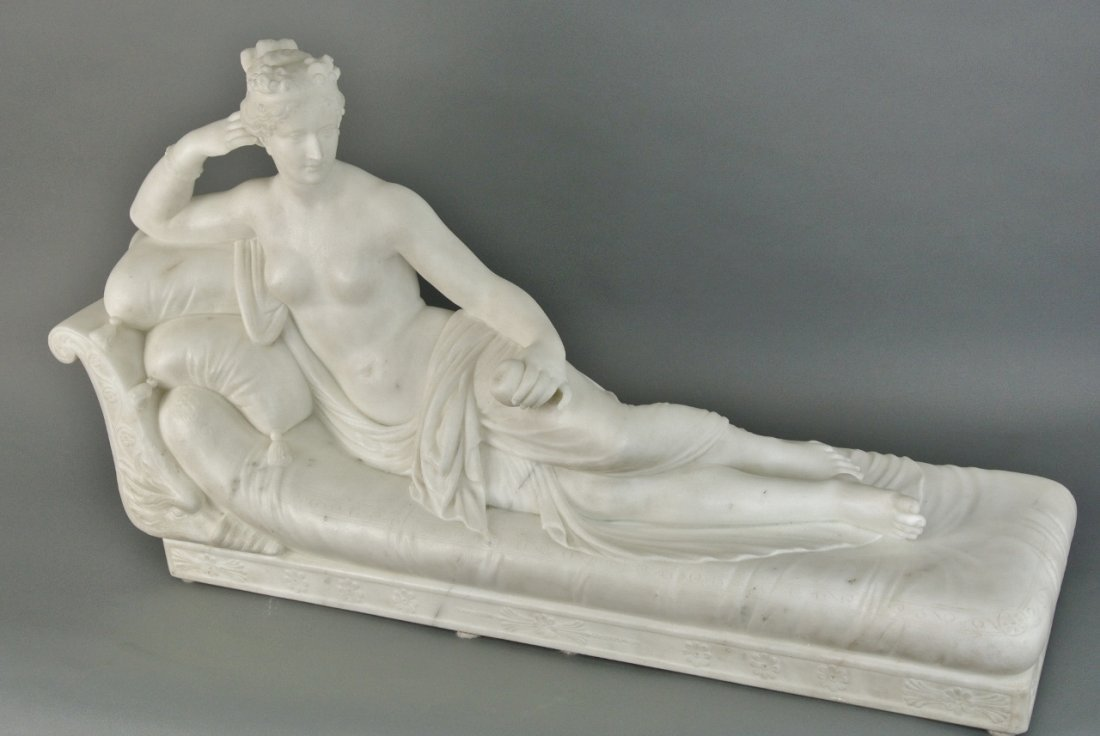 19TH CENTURY CARRERA MARBLE STATUE OF PRINCESS PAULINE