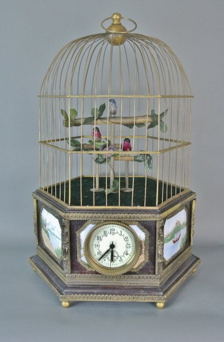 LARGE ENAMEL AUTOMATON SINGING BIRD CAGE CLOCK