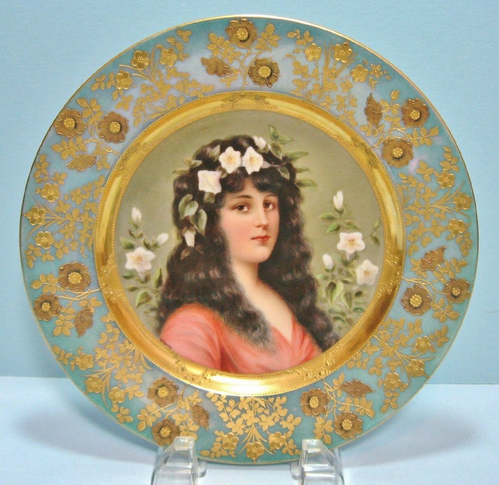 ROYAL VIENNA PORCELAIN PLATE,SIGNED WAGNER