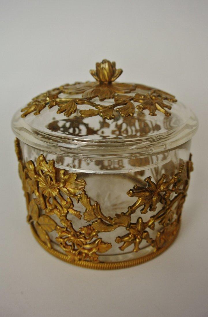 19TH CENTURY ORMOLU MOUNTED GLASS BOX & COVER