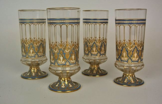 SET OF 4 ENAMELED LOBMEYER GLASSES
