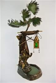 LARGE COLD PAINTED AUSTRIAN BRONZE LAMP SIGNED BERGMAN