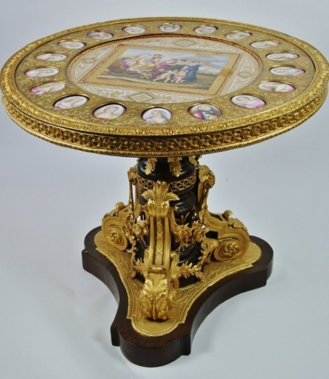 SEVRES STYLE ORMOLU MOUNTED TABLE