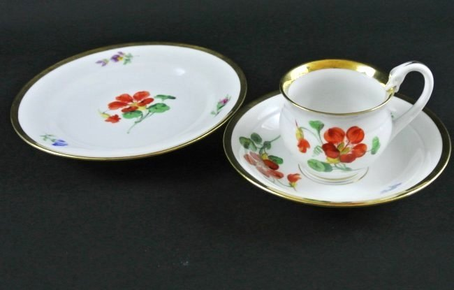 MEISSEN CUP AND SAUCER AND CAKE PLATE