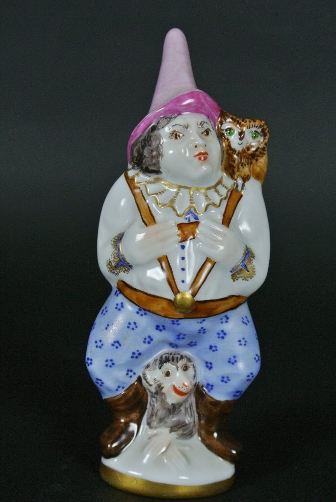 MEISSEN FIGURE WITH MONKEY AND OWL