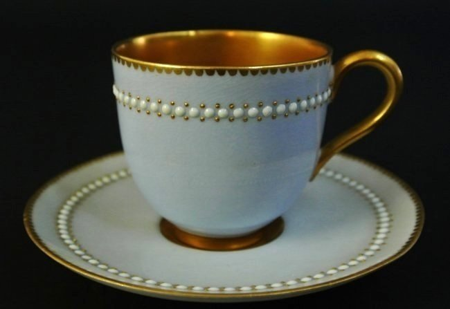 JEWELED ROYAL WORCESTER CUP AND SAUCER