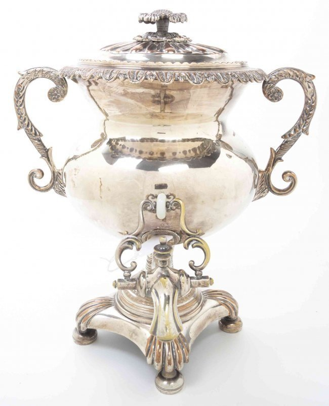 ANTIQUE ENGLISH SILVER PLATED TEA URN