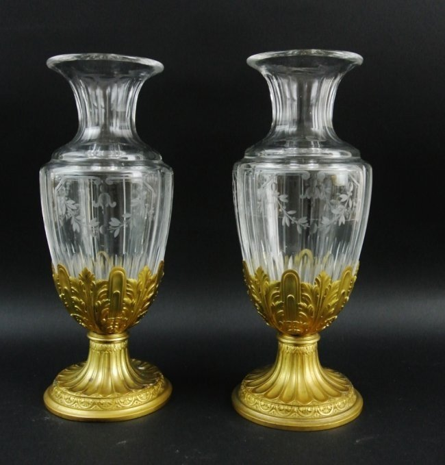 PAIR OF ETCHED GLASS AND DORE BRONZE VASES