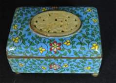 CHINESE CLOISONNE BOX WITH WHITE JADE