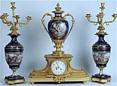MAGNIFICENT 19TH CENTURY JEWELED SEVRES CLOCK GARINTURE