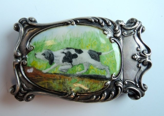 STERLING SILVER AND ENAMEL MATCH BOX