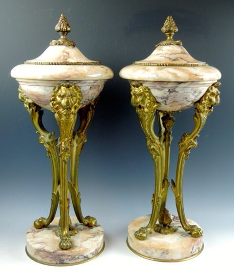 PAIR OF 19TH CENTURY MARBLE AND ORMOLU URNS