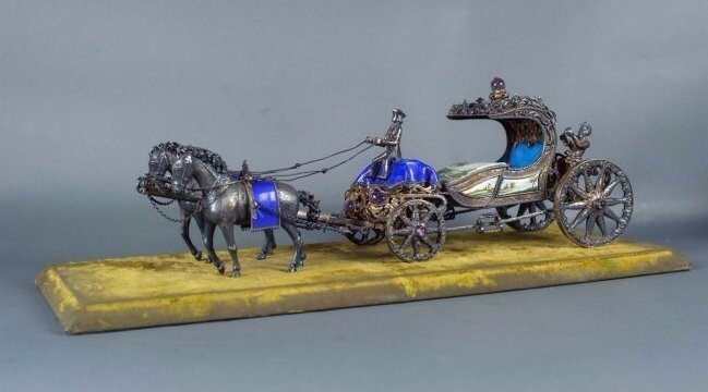LARGE AUSTRIAN STERLING SILVER AND ENAMEL CARRIAGE