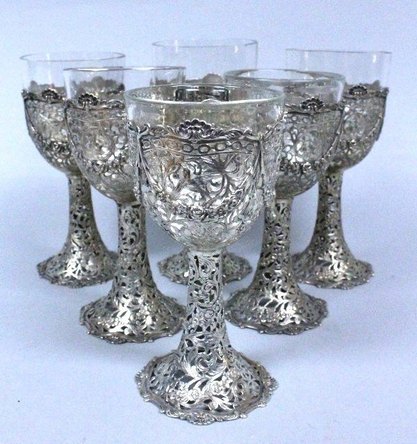 SET OF SIX SILVER GOBLETS