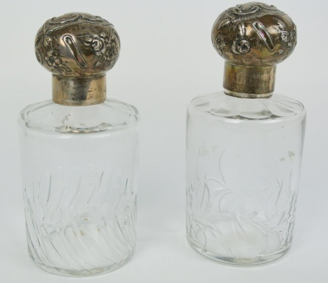 PAIR OF MARKED BACCARAT AND STERLING SILVER PERFUME