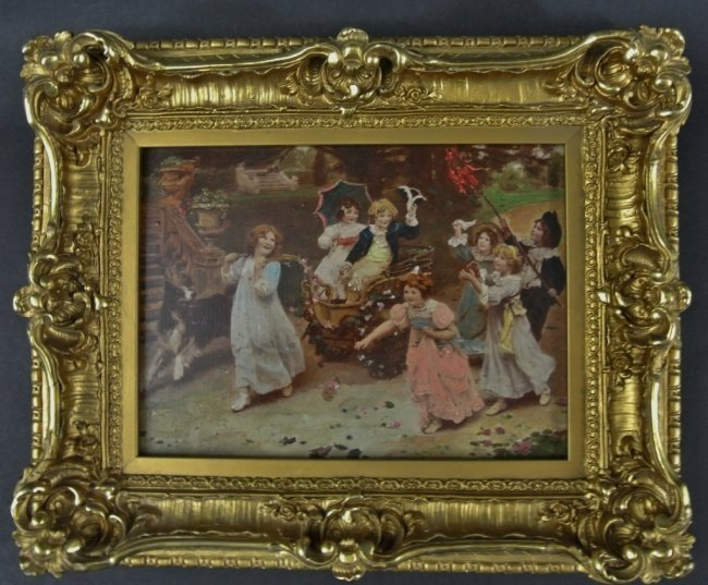 19TH CENTURY PICTURE WITH GILT WOOD FRAME
