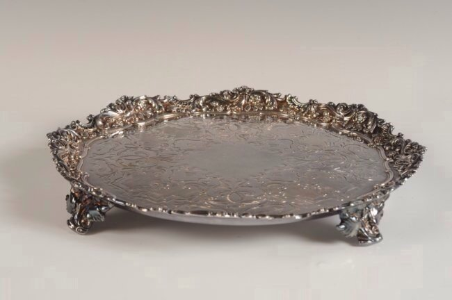 A VICTORIAN SILVER PLATED SALVER