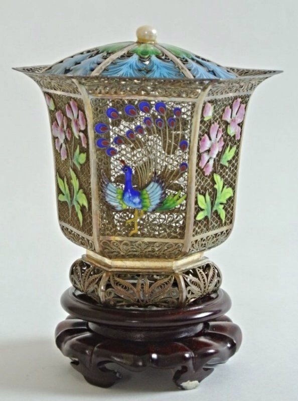 CHINESE SILVER AND ENAMEL INCENSE BURNER