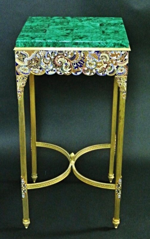 19TH CENTURY MALACHITE TOP CHAMPLEVE ENAMEL TABLE