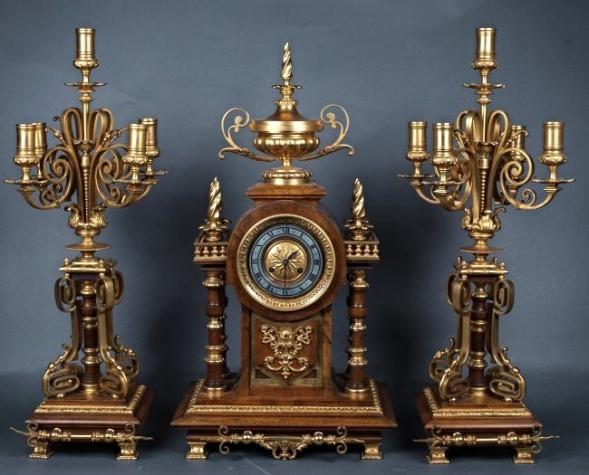 19TH CENTURY MOHAGONY AND GILT BRONZE CLOCK SET