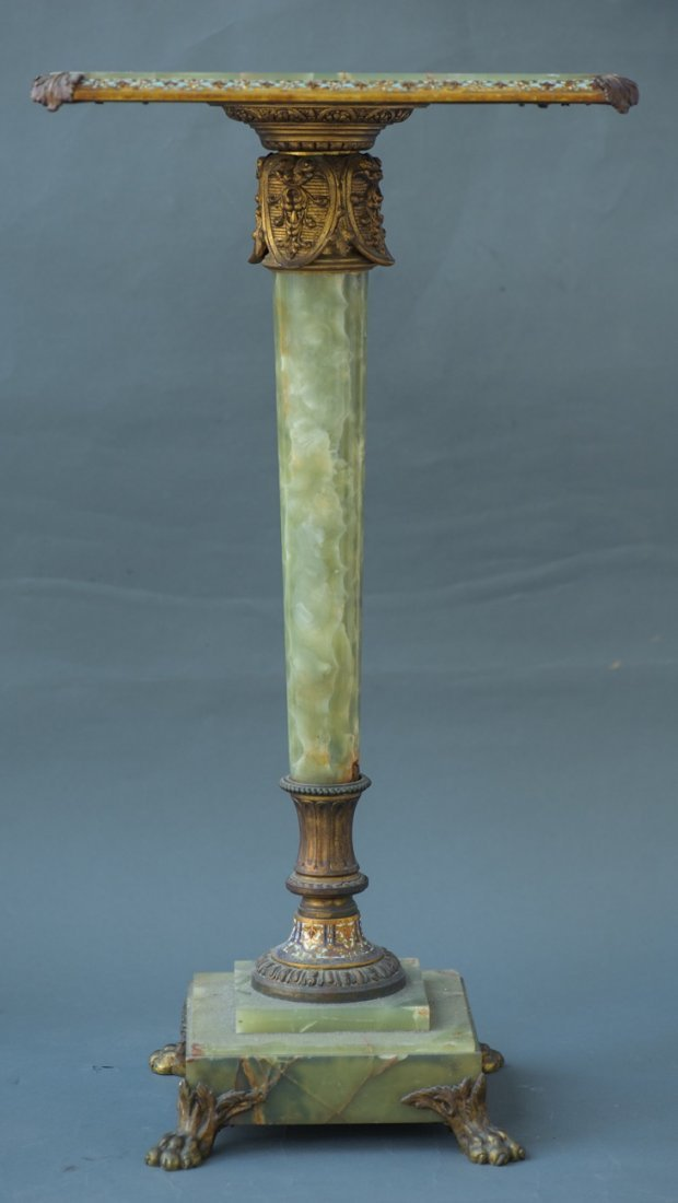19TH CENTURY GILT BRONZE AND CHAMPLEVE ENAMEL TABLE